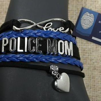 Thin Blue Line Mom Leather Bracelet