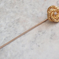 Diamond Stick Pin 10K Yellow Gold Mine Cut Textured Coil Knot Mobius Vintage 021216RL