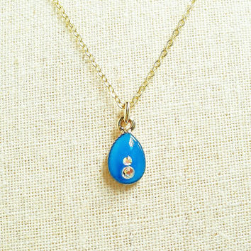 Tiny Teardrop Necklace, Blue Teardrop Necklace, Small BlueTeardrop with Rhinsones Necklace, Blue Sparkly Necklace, Dainty Teardrop Necklace