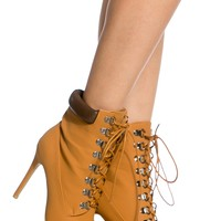 Camel Faux Nubuck Lace Up Pointed Toe Booties @ Cicihot Heel Shoes online store sales:Stiletto Heel Shoes,High Heel Pumps,Womens High Heel Shoes,Prom Shoes,Summer Shoes,Spring Shoes,Spool Heel,Womens Dress Shoes