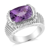 5 1/10 CT TGW Amethyst Fashion Ring Silver