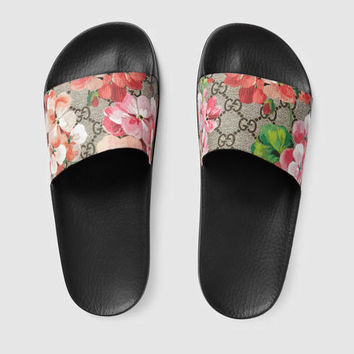 Gucci GG Blooms Supreme slide sandal from GUCCI  eae14b8c3