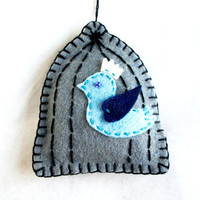 Wool felt ornament the blue bird escape from cage  handmade - spring Birthday gift - Wedding /  Housewarming home decor Christmas ornament