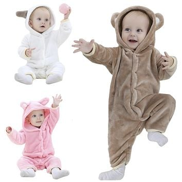 Brand Designer Soft Flannel Baby Pajamas Kawaii Kids Boy Girls Sleepwear Warm Boys Girls Hooded Romper Children Sleepwear