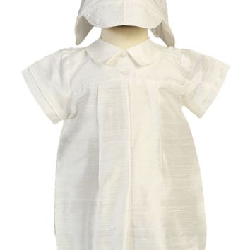 Natural Silk Box Pleat Christening Romper Outfit with Hat (Baby Boys Newborn - 18 months)