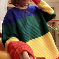 Block Striped Thick Knitted Sweater