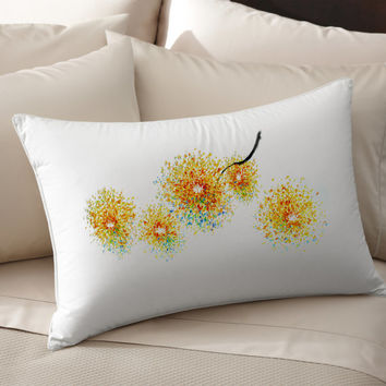 2 Colorful Decorative Sunflowers silk Pillow case pillow cover pillowcase cushion handmade koby feldmos 18X18 inch 20X30 inch white color