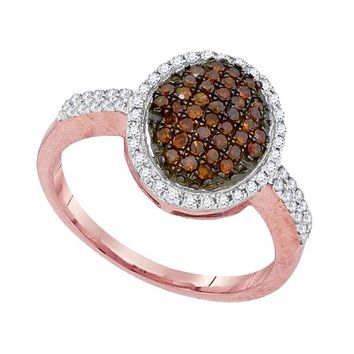 10kt Rose Gold Womens Round Red Color Enhanced Diamond Oval Cluster Ring 3/8 Cttw