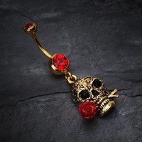 Golden Skull Rose Belly Ring