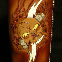 Tooled leather checkbook wallet