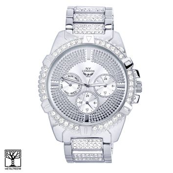 Jewelry Kay style Men's Fashion CZ Iced Out Hip Hop Silver Plated Metal Band Watch WM 1553 S