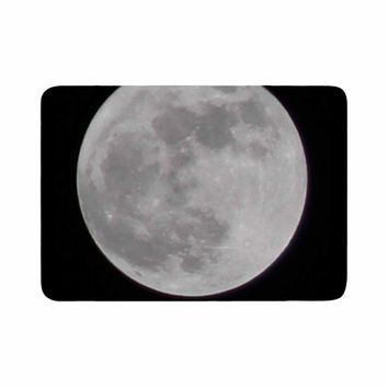 "Sylvia Coomes ""The Moon"" Black White Memory Foam Bath Mat"