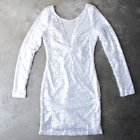 dazzling white sequin party dress