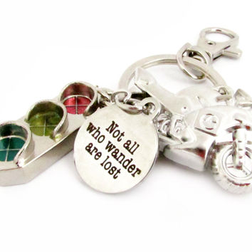 Motorcycle Keychain - Not all Who Wander are Lost