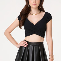 bebe Womens Off Shoulder Wrap Crop Top