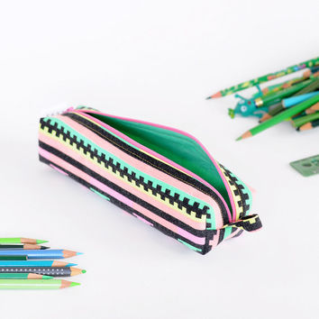 Pencil Bag - Pixel Party - Neon Geometric Vintage Fabric - Zipper and Loop