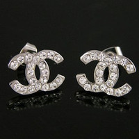 CHANEL CC Earrings Sterling Silver Classic 70% Off