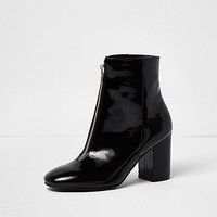 14f10f21df4c Black patent zip front boots - boots - shoes / boots - women