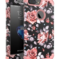 "OBBCase iPhone 7 Plus Case,[Heavy Duty]Three Layer Hybrid Sturdy Armor High Impact Resistant Protective Cover Case For iPhone 7 Plus(Only For 5.5"")Rose Flower/Rose Gold"