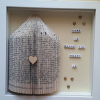 Home decor photo frame home is where the heart is paper folded book house and  mini letters hearts box frame keepsake wall decor