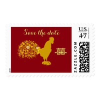 Year Of Rooster Chinese Wedding Save The Date Postage