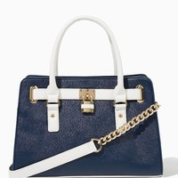 Lady Two-Tone Lockbox Satchel | Fashion Handbags | charming charlie