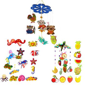 1set Colorful DIY Campanula Wind Chime Kids Manual Arts and Crafts Toys Fruit Ocean Animal Kids Educational Puzzle Toy Craft Kit