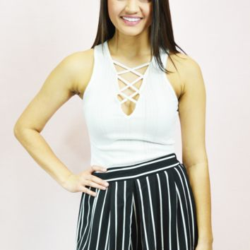 ribbed lace-up tank - white