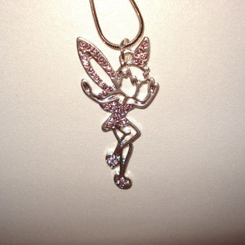 "Tinkerbell Tink Charm Silver Plated 18"" Necklace Birthstone Amethyst Crytals"