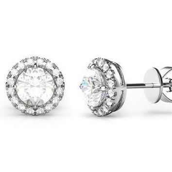 3.44 CTTW Halo Stud Earrings with Swarovski Element Crystals