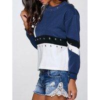 Crew Neck Color Block Sweatshirt