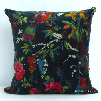 16x16 Black Birds Featuring Velvet Decorative & Accent Pillow Case