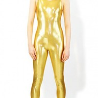 Gold Metallic Catsuit | Sleeveless Metallic Catsuit | Tank Top