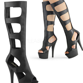 Knee High Peep Toe Platform-Stripper Boot