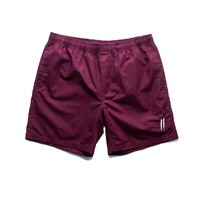 Embroidered Signature Slash Beach Shorts // Burgundy
