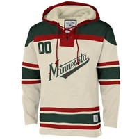 Ole Time Hockey Minnesota Wild Lace Jersey Team Hoodie - White