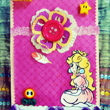 Cute Princess Peach Pink Handmade Card