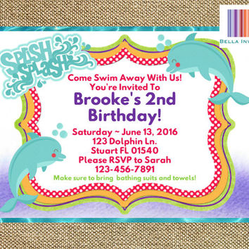 Dolphin Invitation, Dolphin Birthday Invite, Dolphin Party, Under the Sea, Ocean, Printable Girl's Birthday, DIY, 5x7 (Digital File)