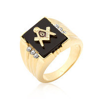 Goldtone Men's Masonic Ring