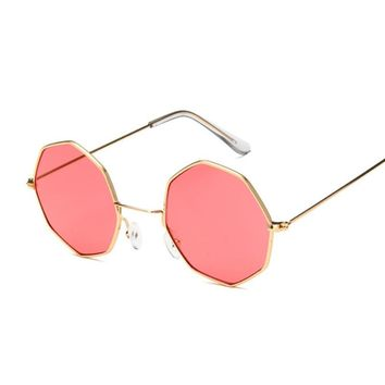 Oval Octagon Yellow Red Round Sun Glasses For Women Mirror Hexagon Small Sunglasses Vintage Steampunk Mens Clear Sun Glass