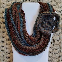 Women Teen Handmade gift, Long Brown Blue Scarf Necklace, Warm Crochet Infinity Rope Style Scarf, Bohemian, Tweed Accessory // color: Urban