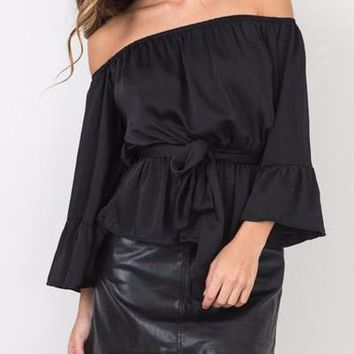 Women's Off Shoulder Bell Sleeve Top With Tie Choose Black Or Mauve