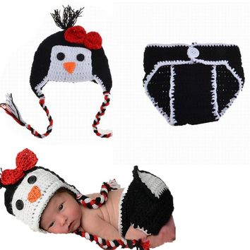 Cartoon Infant Newborn Knitted Crochet Handmade Hat Pants Set Penguin Photography Costume Baby Suit
