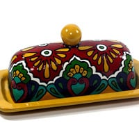 "Yellow, Green, Red & Cobalt Blue Talavera Style Butter Dish -- ""Royal Border"""
