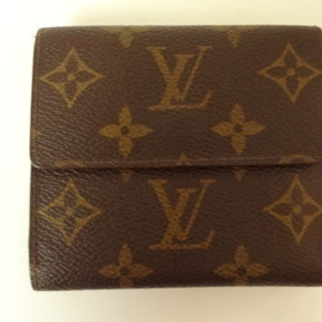 Auth Louis Vuitton Compact wallet Elise monogram VIntage GOOD used Bag unisex