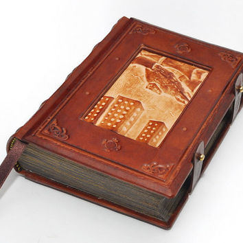 To the docks, Steam punk handmade leather journal - vintage style, 6x8 inch (15x20 cm) in gift box