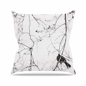 "Qing Ji ""Vintage Bird At Dusk"" Black White Outdoor Throw Pillow"