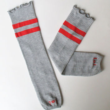 Extra Long Cotton Arm Warmers, Gray Fingerless Texting Gloves, Red Stripes, l.e.i., Ready to Ship