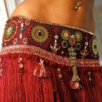 Perfectly Beautiful Belly Dance belt beaded sequined in maroon gold green and red