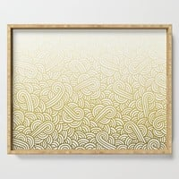 Gradient yellow and white swirls doodles Serving Tray by savousepate
